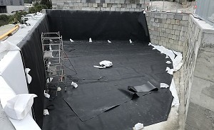 Water Tank Lining - showing Geotextile Underlay